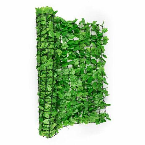 Blumfeldt Fency Dark Ivy valla de protección visual y anti viento 300x150 cm hiedra verde claro