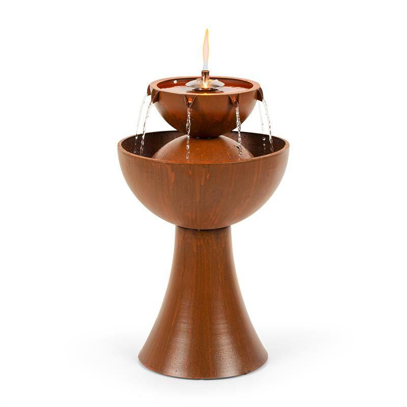 blumfeldt Hadrian Fuente de jardín con lámpara de aceite 8W metal galvanizao color óxido