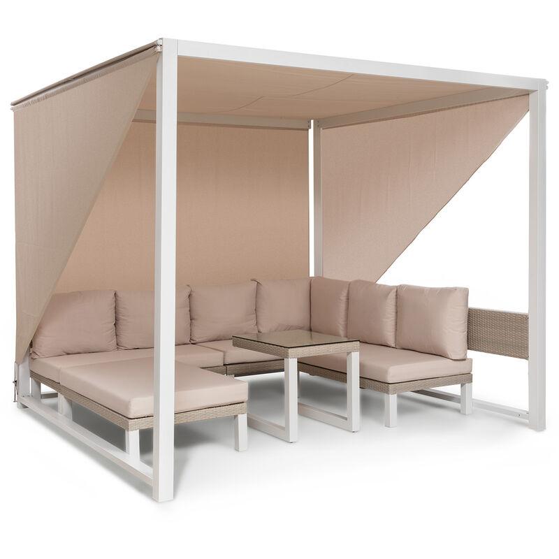Havanna Pavillon & ensemble lounge 270x230x270cm 4 sièges doubles blanc - Blumfeldt