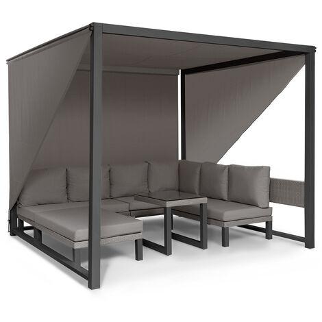 blumfeldt Havanna Set de gazebo y muebles de jardín 270x230x270cm 4 asientos dobles Gris