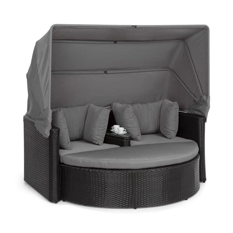 Heartland Canapé lounge 2 places avec tabouret table parasol gris