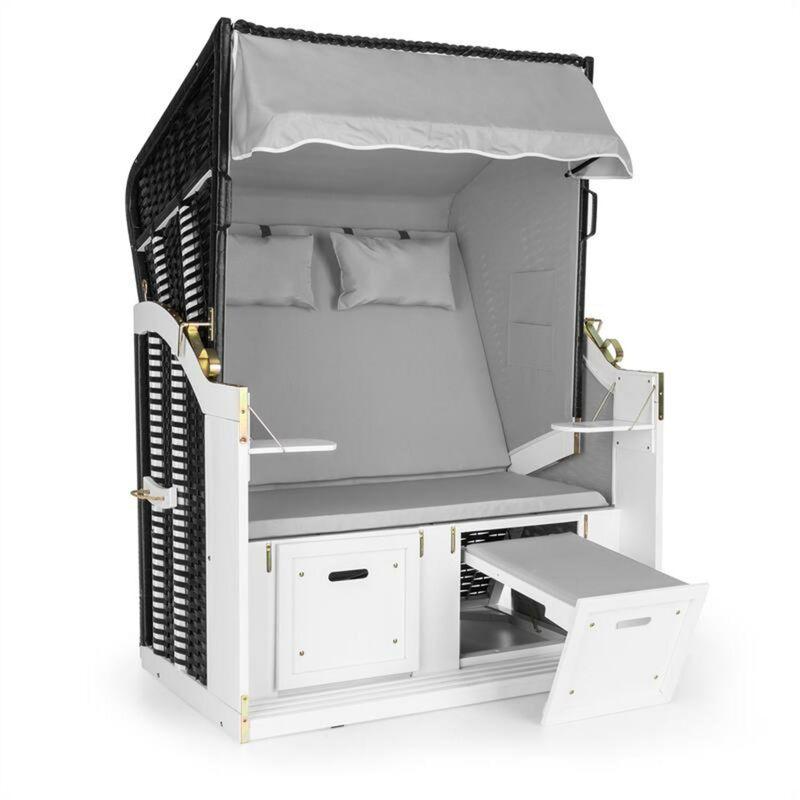 Hiddensee Chaise longue corbeille cabine plage XL 2 places - gris - Blumfeldt