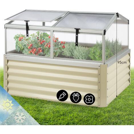 Blumfeldt High Grow Advanced Potager surélevé + toit 120x 95x 100 cm 540L beige
