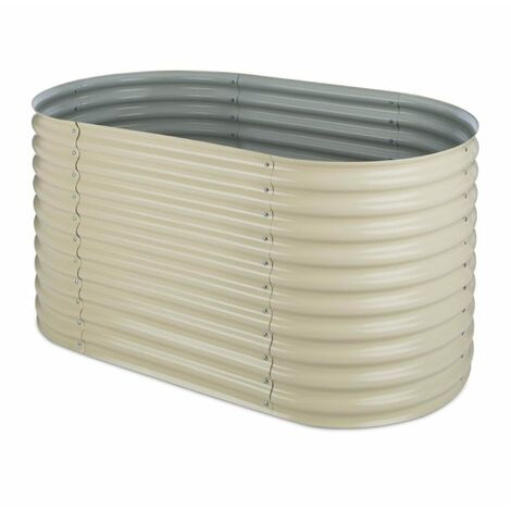 blumfeldt High Grow Raised Planter 1.6m zinc-aluminum coating beige