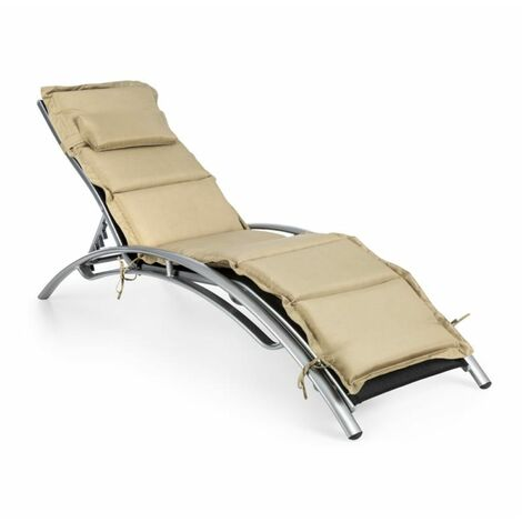 blumfeldt Intermezzo Chaise longue jardin Aluminium Rembourrage PU noir/beige