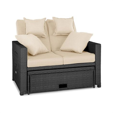 Blumfeldt Komfortzone Rattan Lounge Sofa Two-seater Polyrattan Foldable Tables Grey
