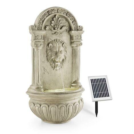 blumfeldt Löwenstein Fuente de pared Fuente de jardín 2W Solar LED Poliresina Efecto piedra