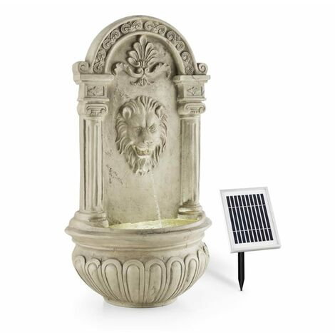 Blumfeldt Löwenstein Wall Fountain Garden Fountain Solar 2W LED Polyresin Stone Look