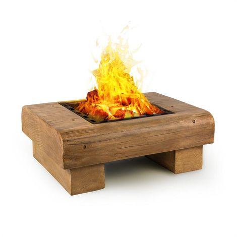 Blumfeldt Lombardia Fire Bowl 40x40 cm BBQ-Pit Spark Protection MagicMag Wood Look