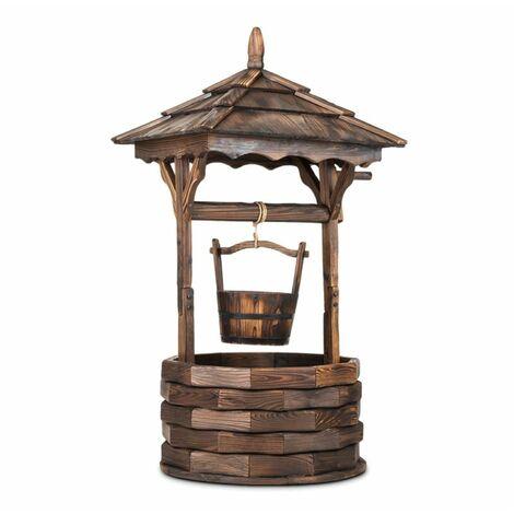 Blumfeldt Loreley Fuente de jardín decorativa de 125 cm en madera de abeto quema