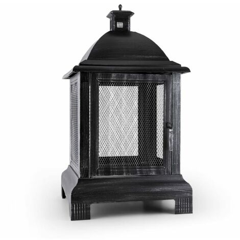 Blumfeldt Loreo Burnished Steel Outdoor Lantern Garden Fireplace