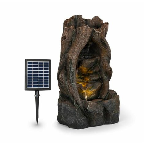 Blumfeldt Magic Tree Solar Fountain 2.8 W Polyresin 5h Battery LEDs Wood Look