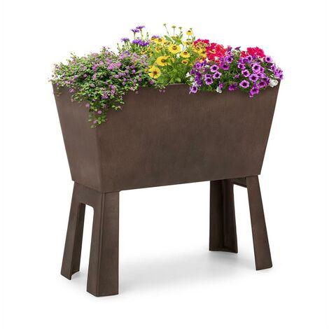 Blumfeldt Mammutgrow Flex jardín de suelo elevado 75 x 70 x 35 cm con protección UV y contra heladas marrón