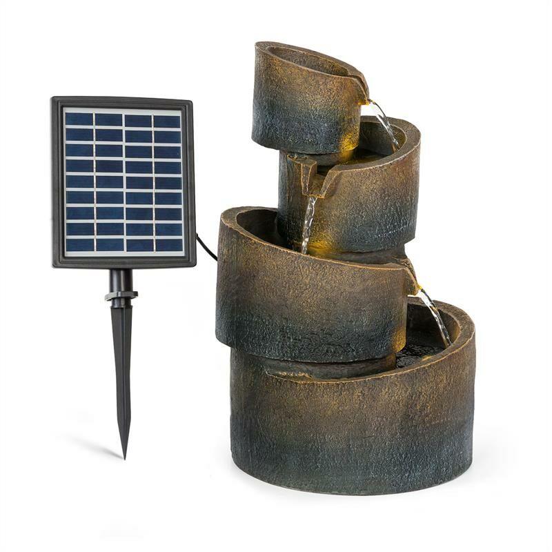 Mantua Fuente en cascada Fuente solar Fuente de jardín 4 niveles batería - Blumfeldt