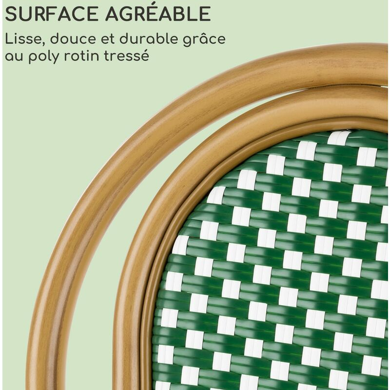 Blumfeldt Montpellier GR Set 2 chaises de jardin style bistro polyrotin vert