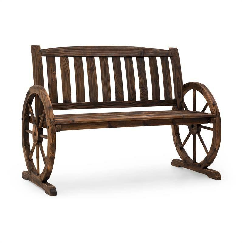 Murnau Banc de jardin décoratif bois de sapin massif - marron - Blumfeldt