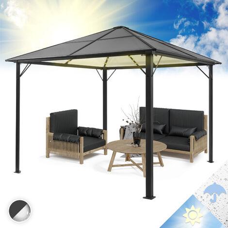 blumfeldt Pantheon Solid Sky Ambient Solar Pergola avec toit gris 3x3m polycarbonate aluminium