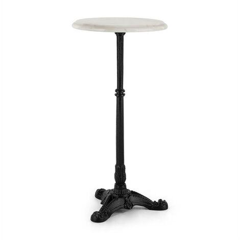 blumfeldt Patras-XS mesa de bistró con tapa de mármol Ø30cm base de hierro fundido