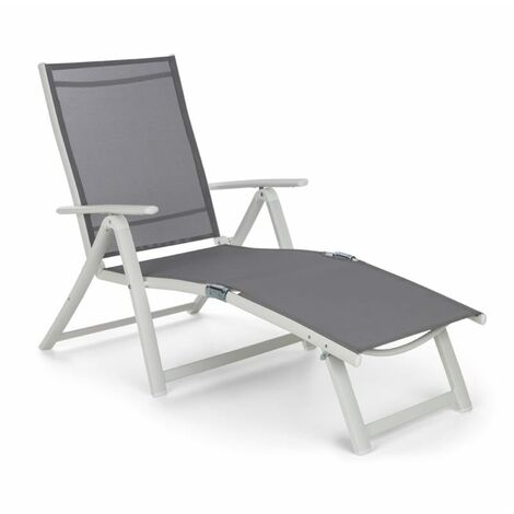 Blumfeldt Pomporto Lounge Deck Chair PVC PE Aluminium 7-Step White / Light Grey