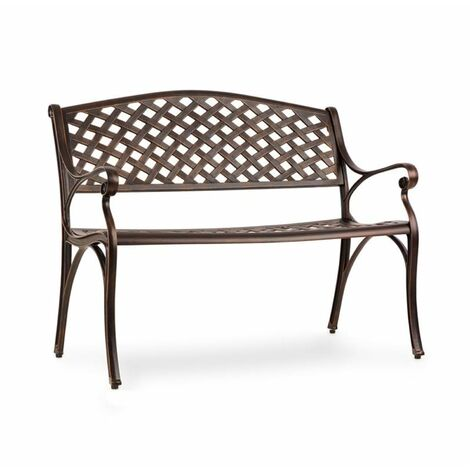 Blumfeldt Pozzilli AN Garden Bench Die-Cast Aluminium Weather-Resistant Antique Copper