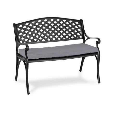 Blumfeldt Pozzilli BL Set banc de jardin + coussins de siège noir & gris