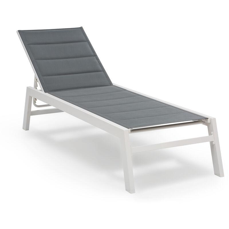 blumfeldt Renazzo Lounge Chaise longue de jardin 6 positions - gris & blanc