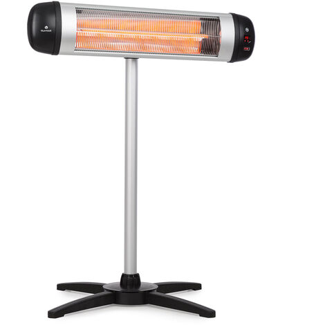 blumfeldt Rising Sun Radiant Heater 2500W IP34 Height Adjustable Silver
