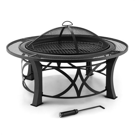 Blumfeldt Ronda Fire Pit ø95cm Barbecue Fireplace Spark Protection Burnished Steel