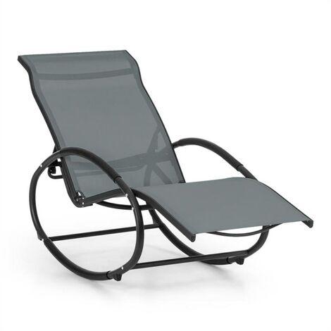Blumfeldt Santorini Fauteuil à bascule chaise longue aluminium polyester -gris