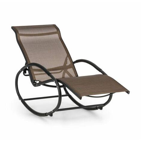 Blumfeldt Santorini Fauteuil à bascule chaise longue aluminium polyester -marron