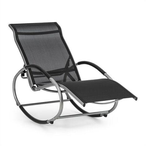 Blumfeldt Santorini Fauteuil à bascule chaise longue aluminium polyester -noir