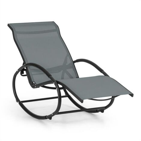 Blumfeldt Santorini Rocking Chair Deck Chair Aluminum Polyester Grey