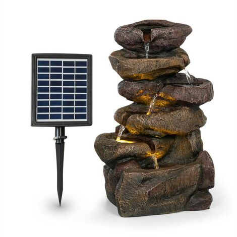 Blumfeldt Savona Solar Fountain 2.8 W Polyresin 5h Battery LEDs Stone Optics