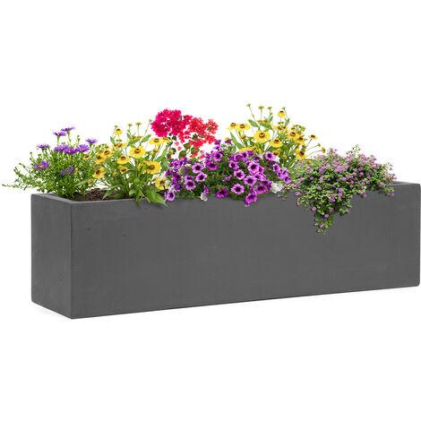 Blumfeldt Solidflor Bac à plantes 75 x 20 x 20 cm Fibre de verre Intérieur/extérieur -gris foncé