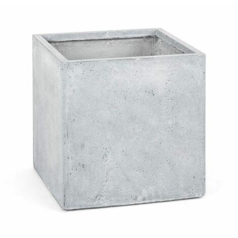 blumfeldt Solidflor Cubo para plantas Maceta 50x50x50 cm gris claro