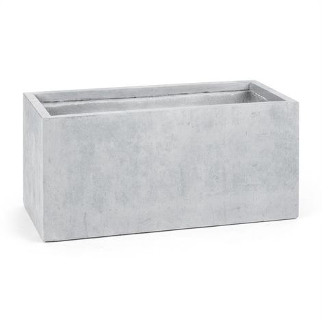 Blumfeldt Solidflor Flower Pot Planter 99x46x46 cm Fiberton Light Gray