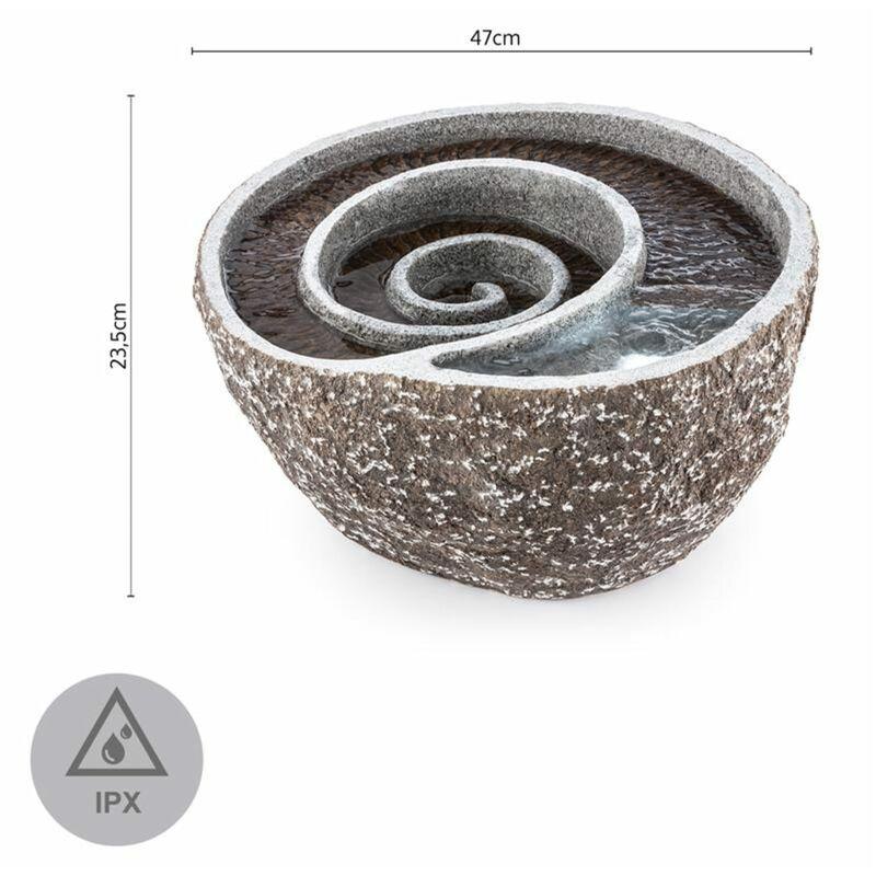 Spiro Fuente para jardín Led 47x41x23,5 cm Bomba Diseño piedra natural