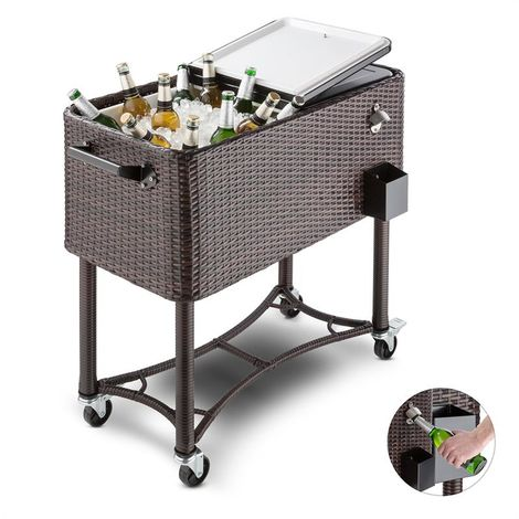 Blumfeldt Springbreak Beverage Cart Terrace Cooler 80l Rattan Decor