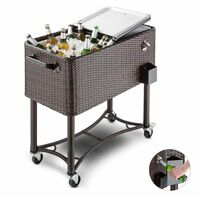 Blumfeldt Springbreak Chariot bar glacière frigorifique de terrasse 80L - rotin