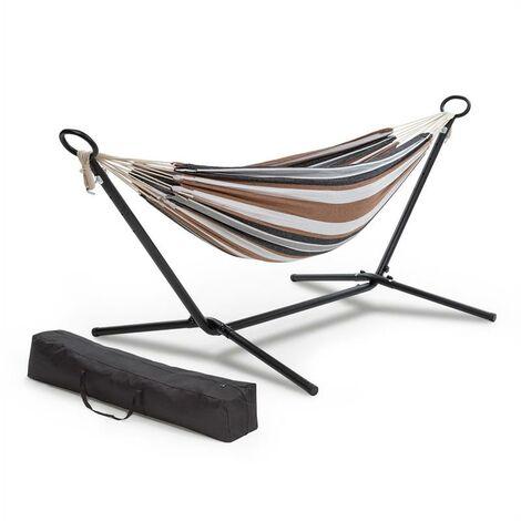 Blumfeldt Sri Lanka Swing Hamac rayé cadre acier 160 kg max. coton & polyester