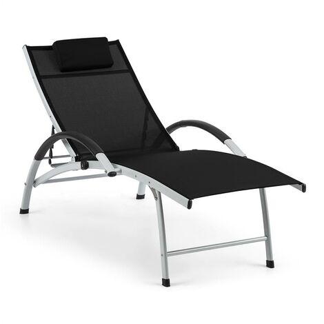 Blumfeldt Sun Valley Chaise longue de jardin pliante avec coussin - noir