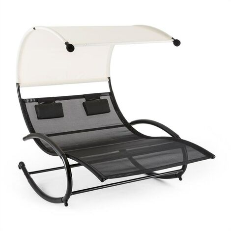 Blumfeldt Suncruise Rocking Couch Garden Lounger Canopy Polyester Steel