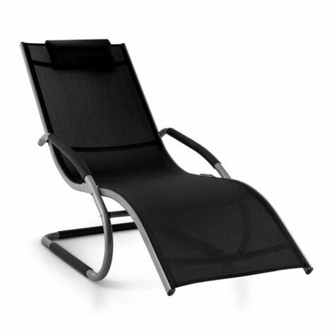 Blumfeldt Sunwave Aluminium Deck Chair Lounger Black