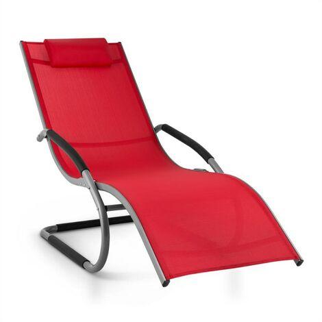 Blumfeldt Sunwave Aluminium Deck Chair Lounger Red