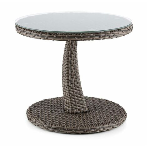 Blumfeldt Tabula Side Table 50cm Glass Wicker Aluminum Bicolor Taube