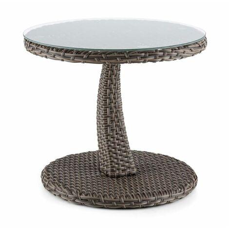 Blumfeldt Tabula table d'appoint 50 cm plateau en verre rotin synthétique aluminium bicolore - taupe