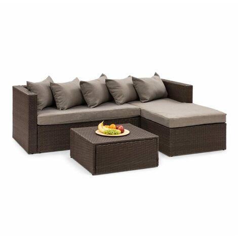 Blumfeldt Theia Lounge Salon de jardin canapé d'angle pouf 5 coussins marron