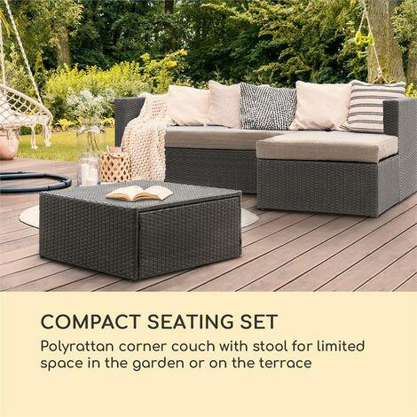 blumfeldt Theia Lounge Salon de jardin canapé d'angle pouf 5 coussins noir