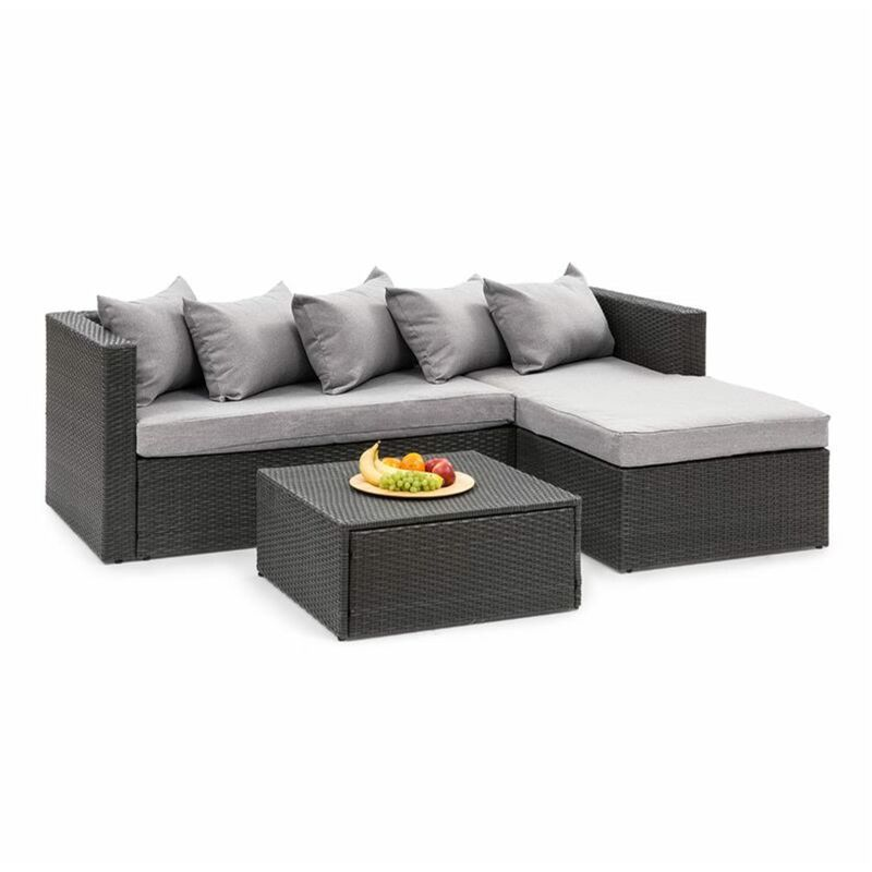 Blumfeldt - Theia Lounge Salon de jardin complet polyrotin noir & gris clair