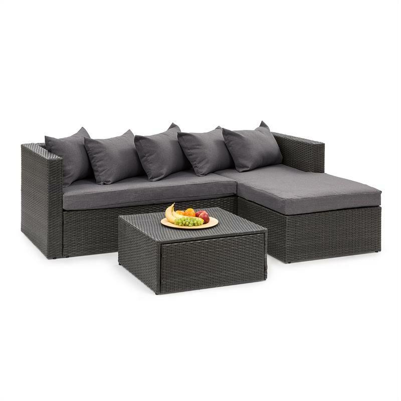 Blumfeldt - Theia Lounge Salon de jardin complet polyrotin noir & gris foncé